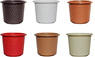 AASHU Heavy Duty Leather Finish Plastic Planter Pots Planters Indoor Planters for Outdoor (Size -9''Dia,Height-8'' Colour -Multicolor)-Pack of 6