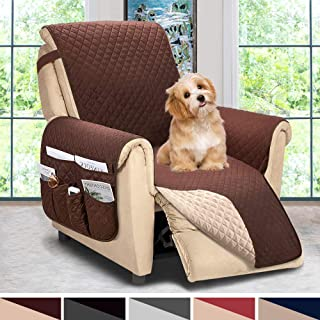 ASHLEYRIVER Reversible Recliner Chair Cover, Sofa Covers for Dogs,Sofa Slipcover,Couch Covers for 3 Cushion Couch,Couch Protector(Recliner Oversize:Chocolate/Beige)