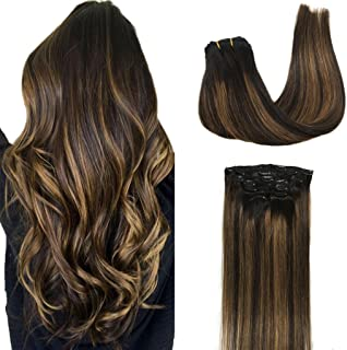 Googoo 24inch Clip in Hair extensions Ombre Black to Light Brown Balayage Clip in Remy Hair Extensions Real Natural Human Hair Extensions 7pcs 120g