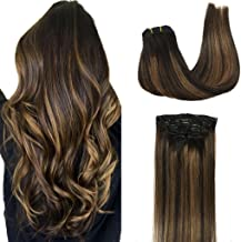 Googoo Clip in Hair extensions Ombre Black to Light Brown Balayage Human Hair Extensions Clip in Remy Hair Extensions Real Human Hair 7pcs 120g 16 inch