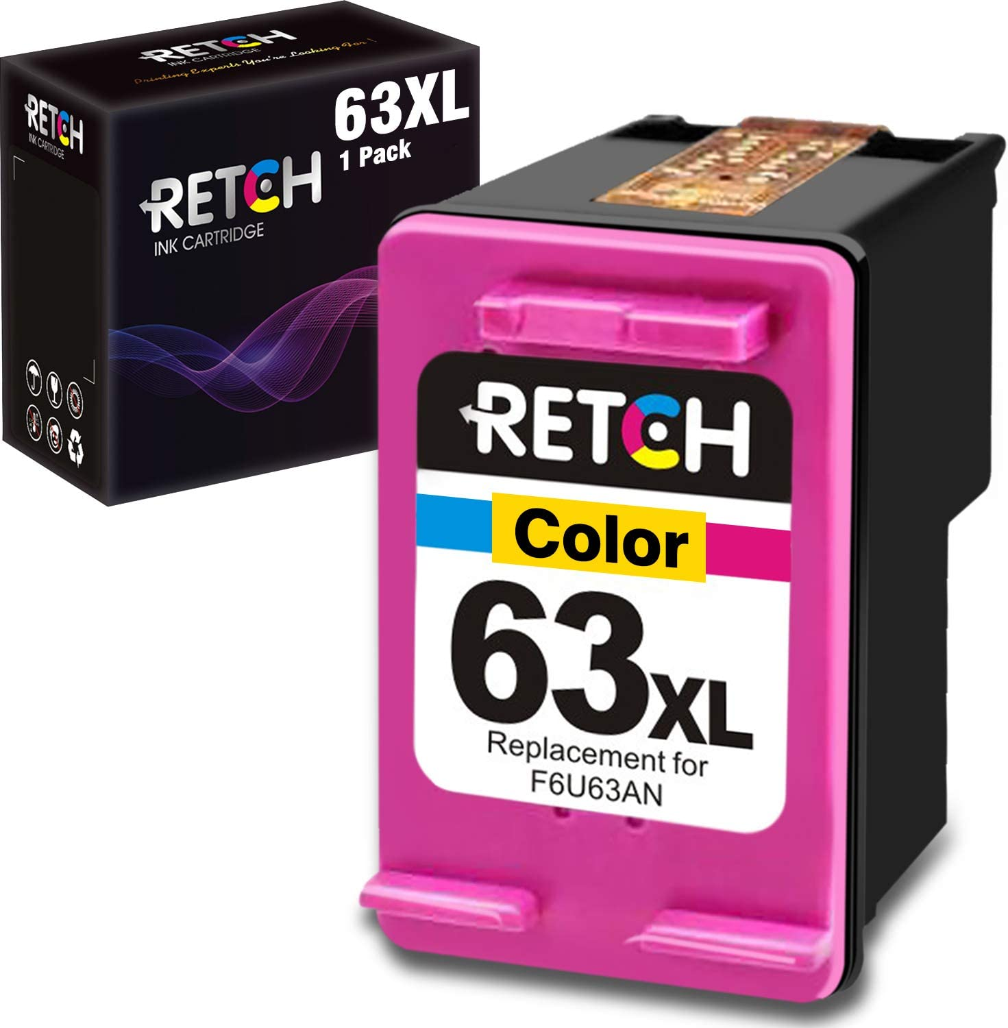 RETCH Remanufactured Tri-color Ink Cartridge inkjet printer Tray Replacement for HP 63XL for Envy 4516 4520 Officejet 3830 3831 3833 4650 4655 5220 5255 5258 DeskJet 1112 2130 2132 3630 3632 3633 3634