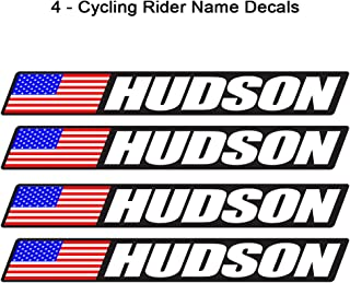 4 piece Custom Bicycle Frame Name USA Decal Sticker Set - road bike cycling mountain bike - Black Background
