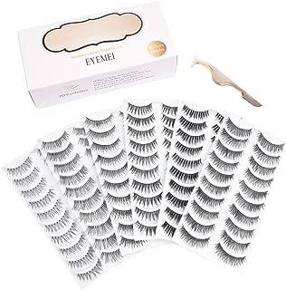 60 Pairs 6 Styles Lashes Strip Handmade False Eyelashes Multipack Eyelashes Set Natural Soft Comfortable with Eyelash Tweezers by EYEMEI