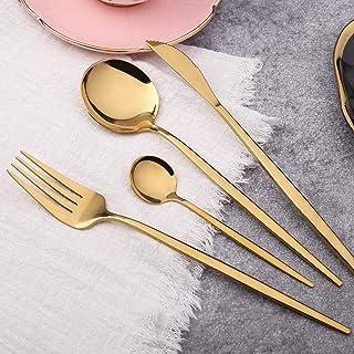 XiuWoo 4 Piece Cutlery Set High Mirror Polish Stainless Steel Flatware Kitchen Tableware Dinnerware Knife Fork Spoon Set D...