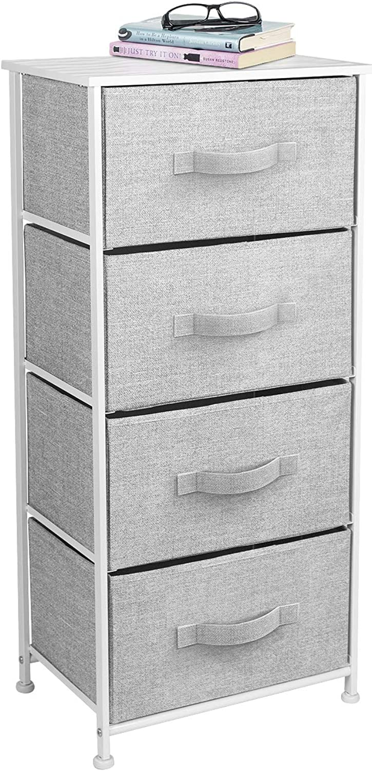 Sorbus Nightstand with 4 Drawers - Bedside Furniture & Accent End Table Chest for Home, Bedroom Accessories, Office, College Dorm, Steel Frame, Wood Top, Easy Pull Fabric Bins (4-Drawer, White)