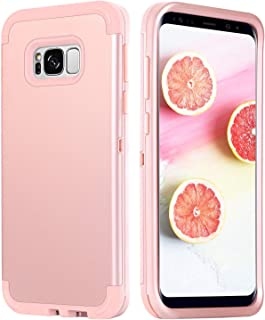 DUEDUE Galaxy S8 Case,Samsung Galaxy S8 Case, 3 in 1 Shockproof Heavy Duty Hybrid Hard PC Soft Silicone Rubber Rugged Bumper Full-Body Protective Cover Case for Woman Girls,Rose Gold