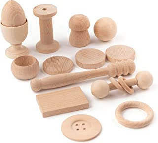 Cestino dei Tesori Montessori, 14 Oggetti in Legno per Bambino Fatto a Mano, Giocattoli Bebe +6 Mesi