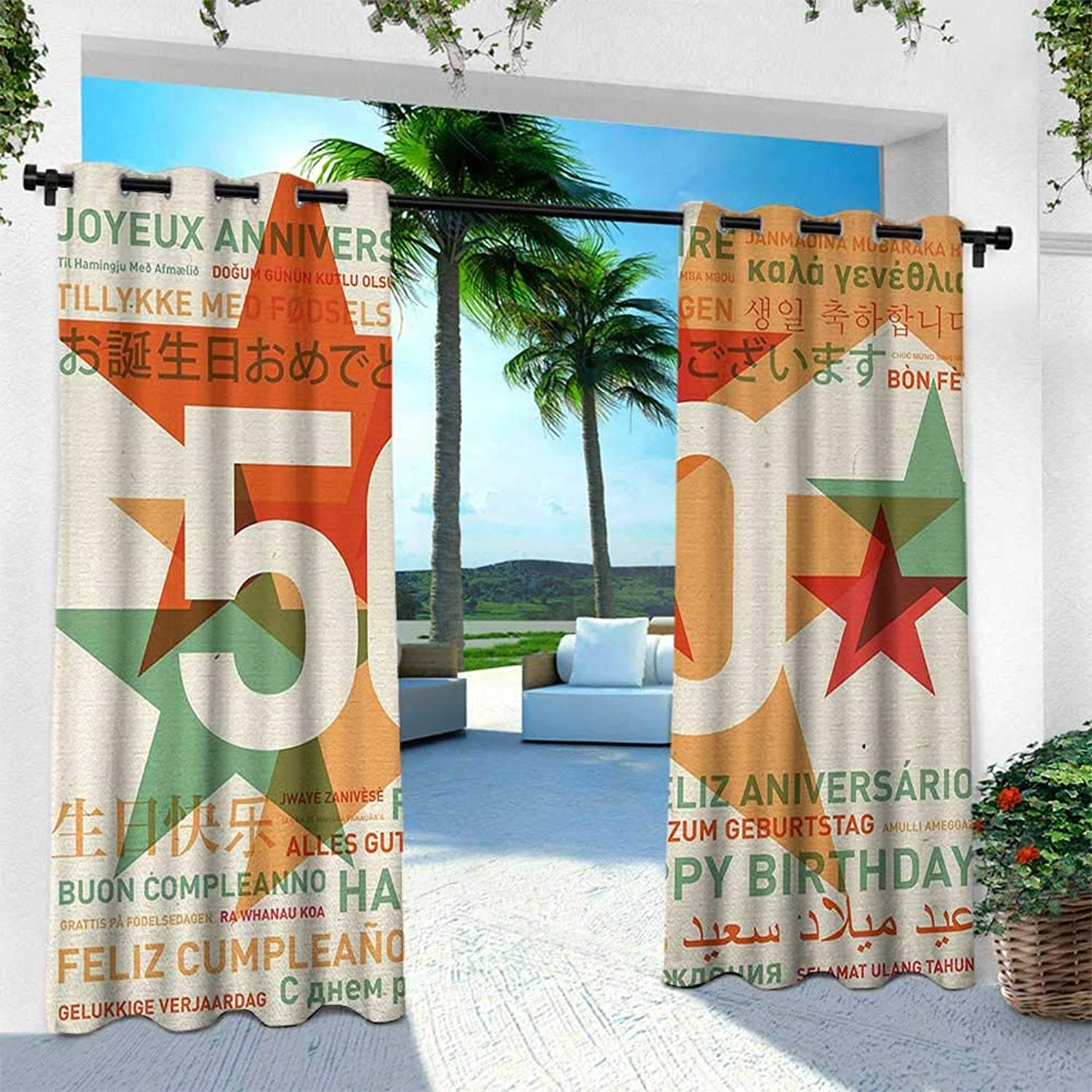 Hengshu 50th Birthday, Indoor/Outdoor Single Panel Print Window Curtain,Happy Birthday in All Languages Retro Style Backdrop with Stars Print, W84 x L108 Inch, Green Red Orange