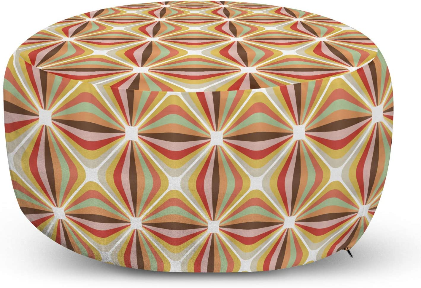 Ambesonne Retro Year-end annual Cheap mail order shopping account Pouf Cover with Abstract Zipper Geometrical Str