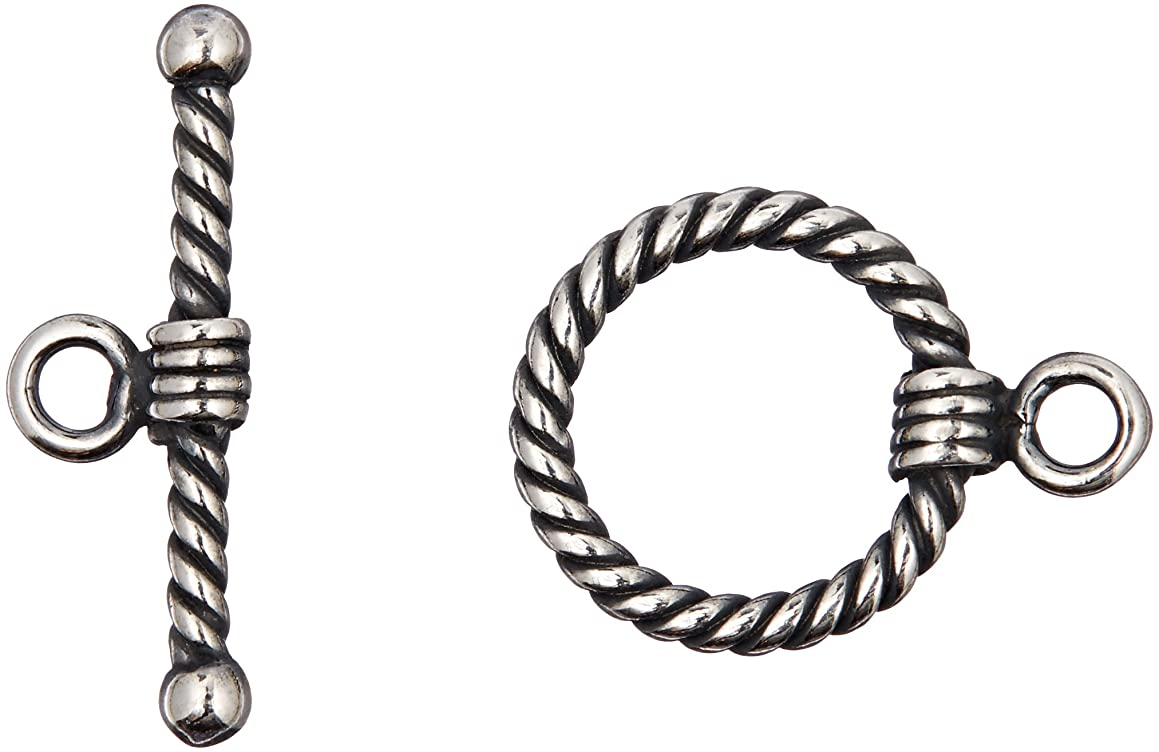 DARICE SPL1017 RopeToggle Clasp Sterling Plated Jewelery Making Kit, 16mm