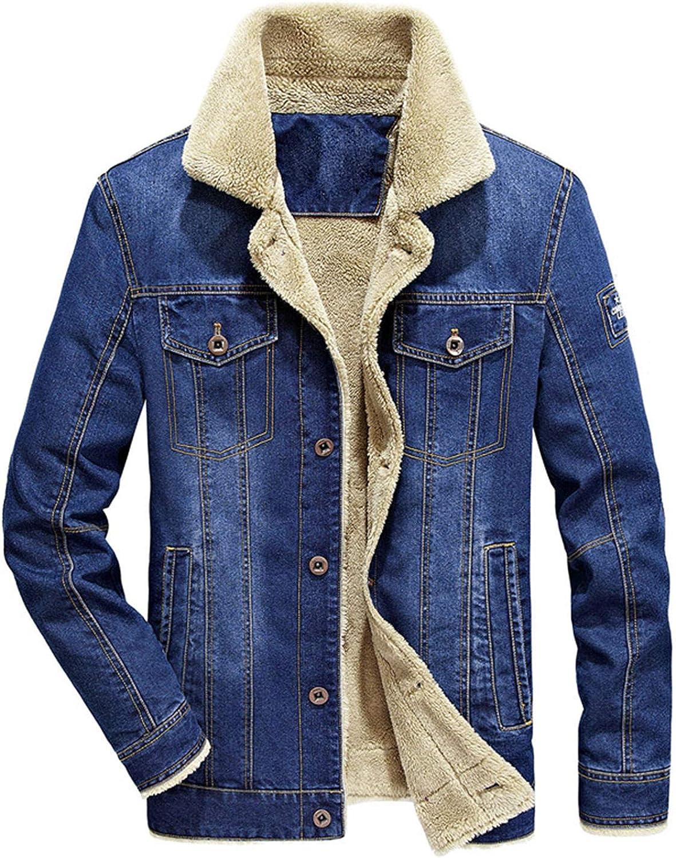 Soluo Men's Faux Fur Collar Sherpa Fleece Lined Distressed Denim Trucker Jacket Outerwear Overcoat (Light Blue,4X-Large)