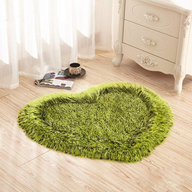 Heart-Shaped Floor Mats Thick Encryption Simple Modern Bedroom Carpet Living Room Bedside Doormat Porch Blanket (color   Green)