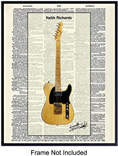 Keith Richards Fender Telecaster Guitar Dictionary Art Print - Vintage Upcycled Wall Art Poster - Unique Rustic Home Decor, Gift for Rolling Stones Music Fans, Musicians - 8x10 Photo Unframed