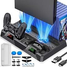 BEBONCOOL Supporto PS4 con Ventola di Raffreddamento, All-in-One Ricarica Supporto a Doppio Controller con Indicatori LED ...