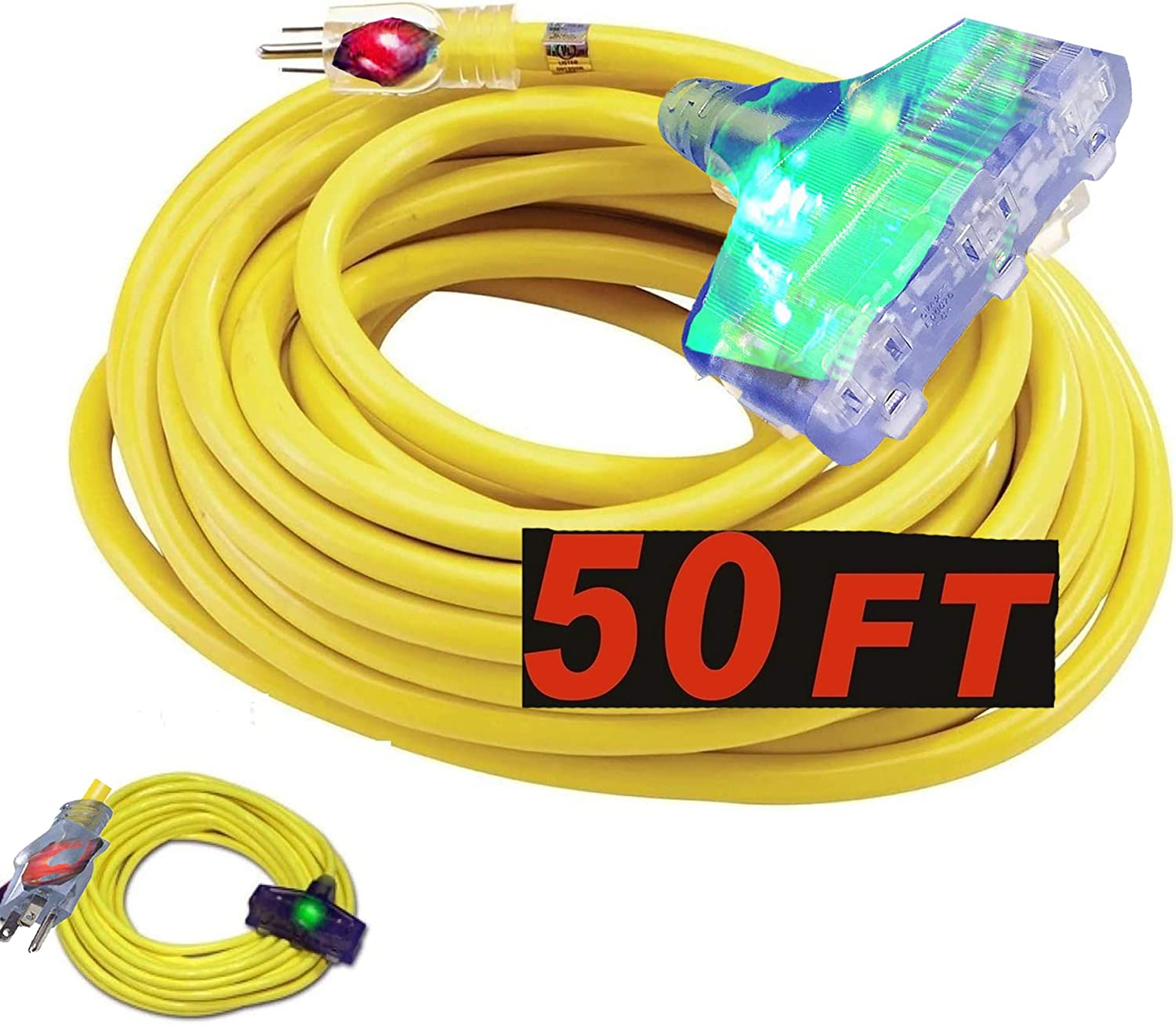 yellow extension cord 10 3 50 Gauge Extension Max 67% OFF Heavy Cord Sales of SALE items from new works D ft