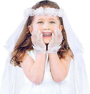 هدایا و دستکشهای حجاب دختران ، سربندهای حجاب ، اولین دسته از گلهای گلهای گل ، دستکش گل دستکش کوتاه شاهزاده خانم توری سفید برای عروسی
