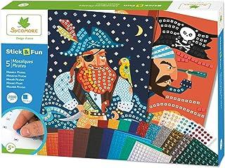 Mosaïques autocollantes pour enfants - 5 maxi tableaux Pirates - Loisir créatif - Stick & Fun - Dès 5 ans - Sycomore - CRE...