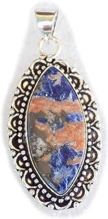 Sodalite Pendant, Silver Plated Brass Pendant, Handmade Pendant, Gift Jewelry, Women Jewellry, Fashion Jewellry, BRS-12348