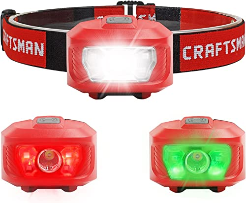 lowest Craftsman Headlamp, Red/Green online sale 2021 Light, 7 Modes, Pivoting Head, Lightweight&IPX4 Water Resistant Perfect for Running, Camping and Hiking,3AAA Alkaline Batteries Included online
