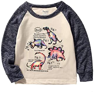 تي شيرت فروجويل للأطفال الصغار ديناصور طويل الأكمام تي شيرت مقاس 2-7 سنوات