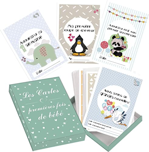 Cartes premières fois de bébé et coffret souvenir (français) – 50 milestone cartes photos unisexe - futures mamans et...