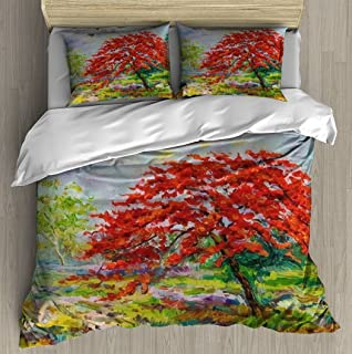 Abstract oil painting landscape original red orange color of Peacock Duvet Cover Set With Zipper Closure Pillowcase Retro ...