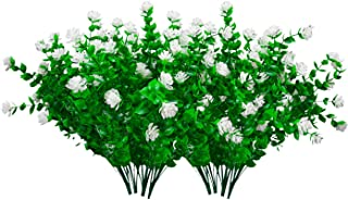 atiyoc Artificial Flowers,Vibrant Faux Plastic Outdoor Indoor UV Resistant Plants,Fake Greenery Boxwood Shrubs Hanging Planter for Home Décor,Patio,Garden,Office,Wedding