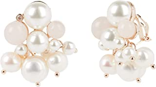 Carolee Women's Cluster Pearl And Rose Quartz Clip Earring