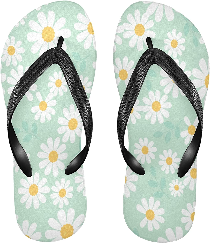 Nander Daisy Flower On Green Background Women's Sandal Flip Flops Soft Comfortable Beach Slippers Unisex Adult Durable Flip Flops Shower Shoes