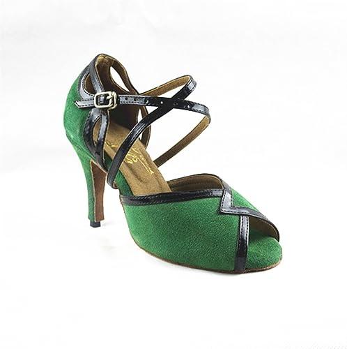 BYLE Sangle de Cheville Sandales en Cuir Chaussures de Danse Modern'Jazz Samba Adultes d'été Chaussures de Danse Latine Chaussures de Danse Sangles vert
