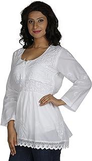 FEMEZONE Women's Cotton Luckhnawi Short Chikan Kurti (White, 40)