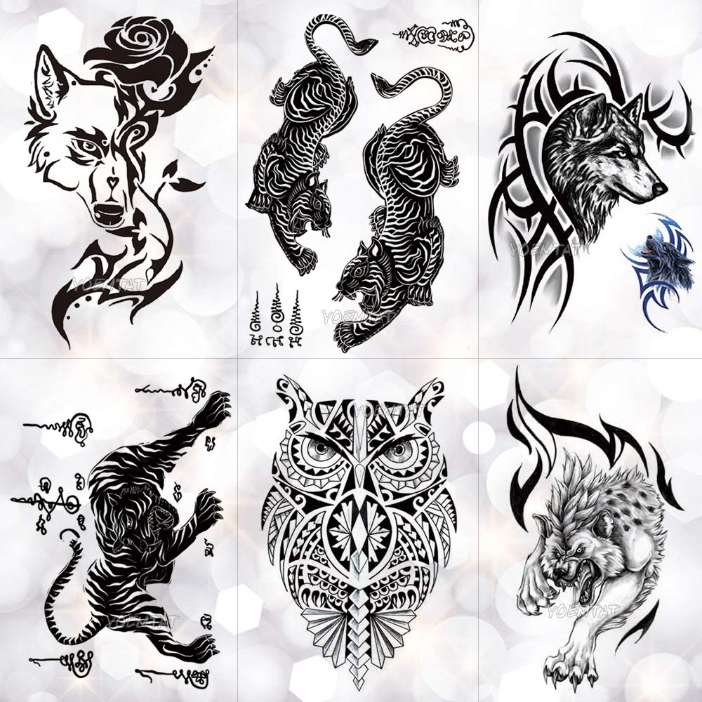 Etiqueta Engomada Del Tatuaje Temporal Tailandia Thorn Tiger Totem ...