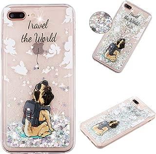 HiCASE Pro Funda para iPhone 7 Plus/8 Plus, Glitter Silicona Liquid Case Bling Sparkly Cute Cover Protección Suave TPU Bumper Cristal Transparente Gel TPU Fundas Case Cover