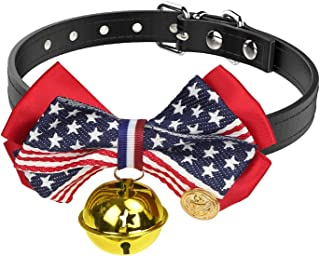 Vavopaw Pet Bowtie Collar, [2 Pack] Puppy Necktie Leather Belt Cute Bowknot Adjustable Small Dog Cat Necklace Collar with Bell Charm, Medium Size - US Flag