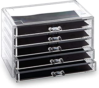 BINO 5 Drawer Acrylic Jewelry and Makeup Organizer, Clear Cosmetic Organizer Vanity Storage Display Box Make Up Organizers...