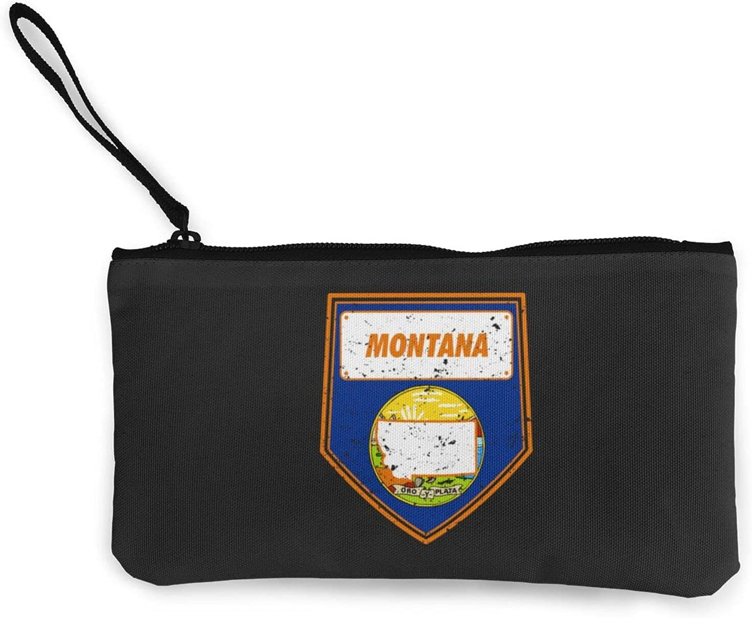 Montana Flag Design Multifunction Travel Toiletry Pouch Small Canvas Coin Wallet Bag Zipper