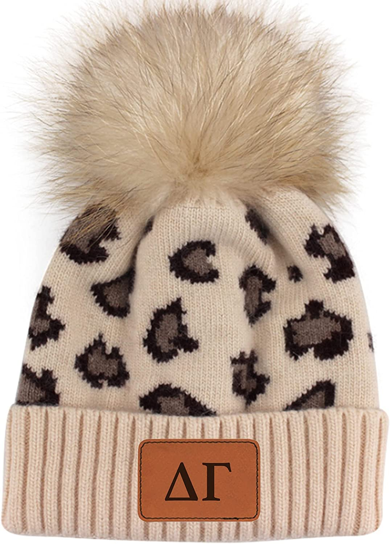 Sorority Shop - Delta Gamma Beanie Hat - Leopard Print - DG Name Patch