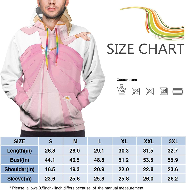 Men's Hoodies Sweatshirts,Pink Chrysanthemum Flower Print Hand Drawn Bird Icons and Sketched Mandala Figures
