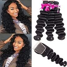 Beauty Princess Hair Loose Deep Wave Bundles With Closure Remy Human Hair Weave Bundles With Closure 8A Brazilian 3 Bundles With Closure Natural Color(Loose Deep 20/22/24+18)