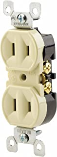 Leviton 223-I 15 Amp, 125 Volt, Duplex Receptacle, Residential Grade, Non-Grounded, Ivory