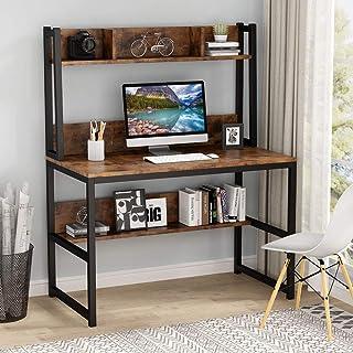 Tribesigns Bureau d'ordinateur Bureau en Bois Bureau d'étude avec clapier et étagère pour Petit Espace, 107cm x 50cm x140c...