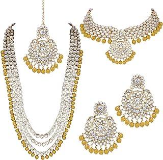 Aheli Wedding Designer Faux Kundan Beaded Indian Heavy Bridal Set Long Choker Necklace Earrings with Maang Tikka Tradition...