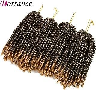 4 Packs Spring Twist Braiding Hair 8 Inch Fluffy Bomb Spring Twist Crochet Hair Braids Jamaican Bounce Synthetic Hair Extensions (1B/27#)