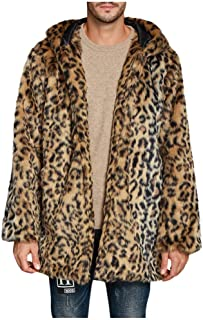 Abrigos Hombre Invierno Elegante Piel Sintética con Capucha Abrigo Vison Chaqueta Patrón de Tigre y Leopardo Cazadoras Gru...