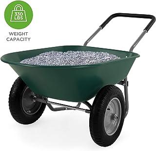 Best Choice Products Dual-Wheel Home Wheelbarrow Yard Garden Cart for Lawn, Construction..
