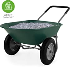 Best Choice Products Dual-Wheel Home Wheelbarrow Yard Garden Cart for Lawn, Construction - Green