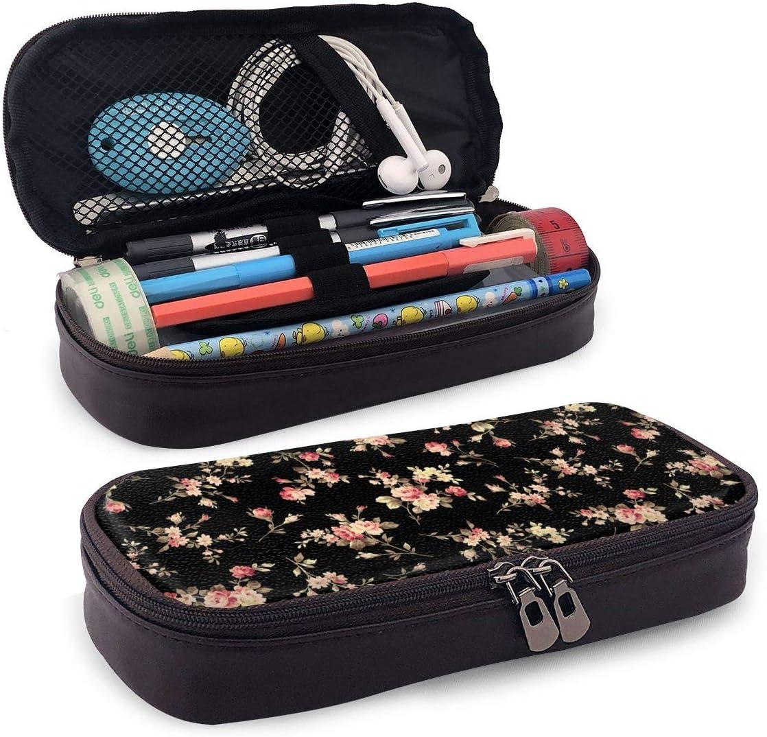 AHOOCUSTOM Daisy Flower Faux Leather At the price of surprise Pencil Pen Double Trust Zipp Case