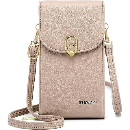 STEWDRY Damen Portemonnaie Handytasche Zum Umhängen PU Leder Klein Smartphone Schultertasche Geldbörse Tasche Mit Kartenfächer (Pink)