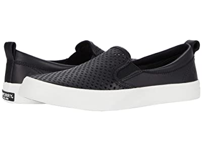 Sperry Crest Twin Gore Scalloped Perf (Black) Women