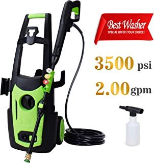 Eletron Electric Pressure Washer Including 4 Quick-Connect Spray Tips, High Power Cleaner with 3500 PSI 2.0 GPM, Car Machine with Copper Motor